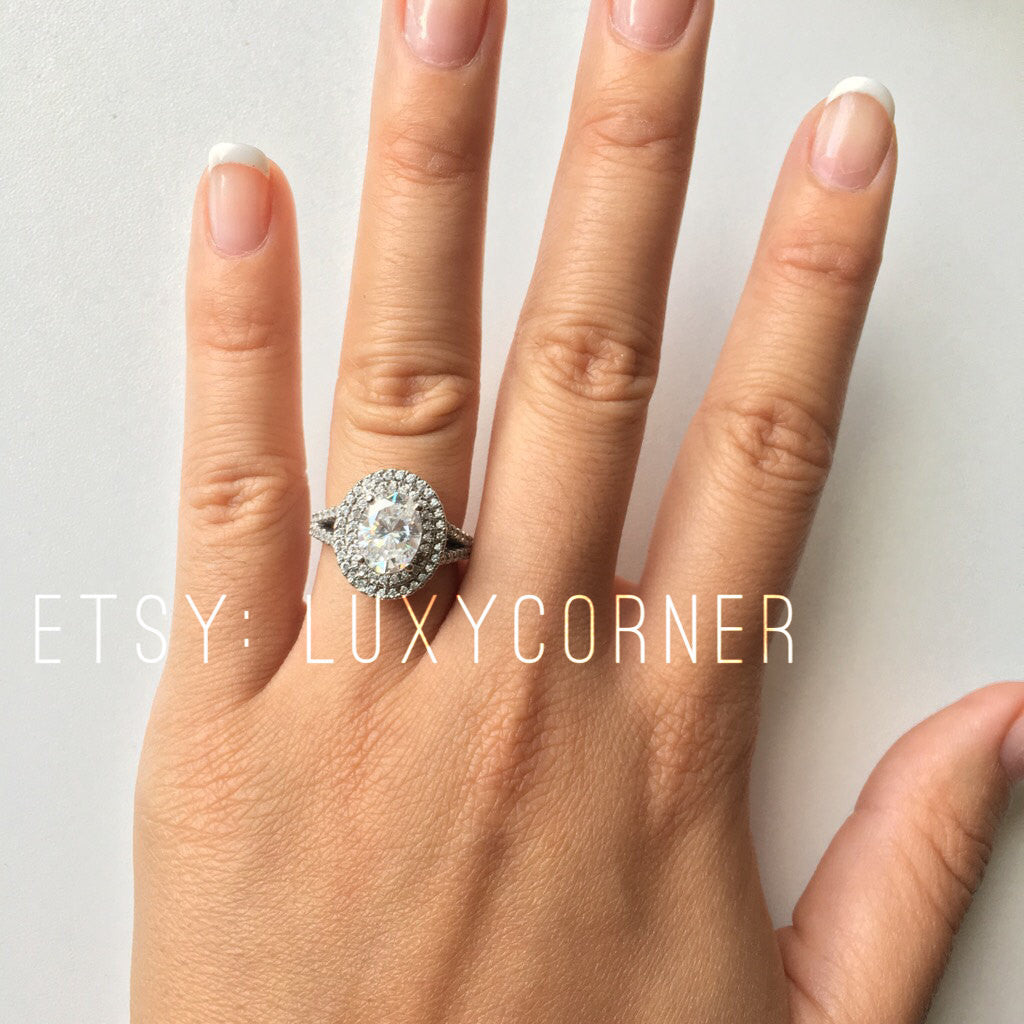 Oval Halo Engagement Ring, Oval Double Halo Engagement Ring, Split Shank  Design, Genuine