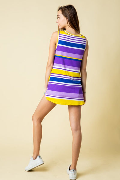 Purple Stripe Sleeveless Knot Top
