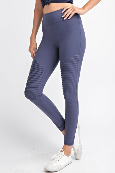 Buttery Soft Vintage Blue Moto Leggings