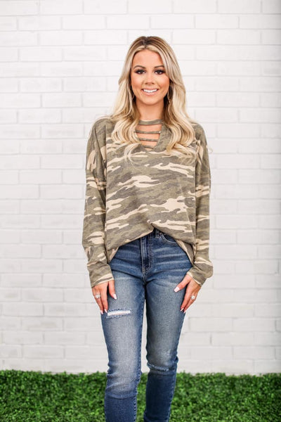Vintage Camo Caged Neckline Top