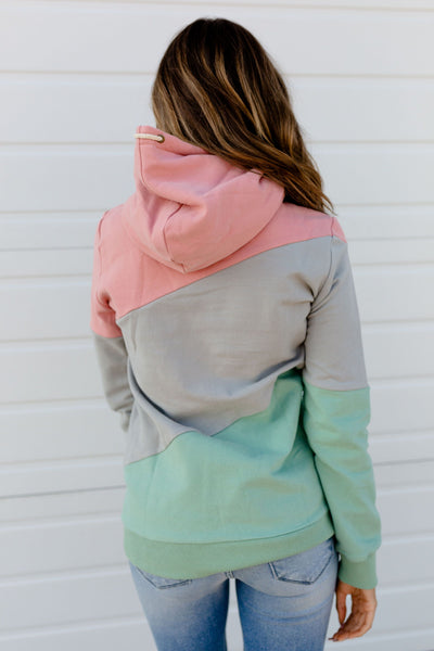 New! Pink, Gray, and Mint Color Block Hoodie