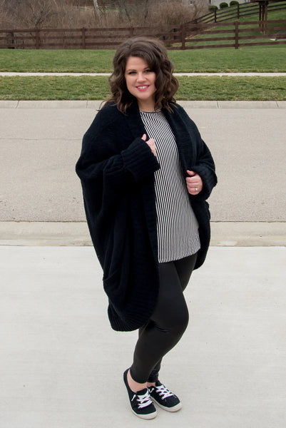 Cozy, Black Oversized Cardigan with Pockets