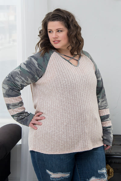 Avery Taupe with Camo Sleeves Top