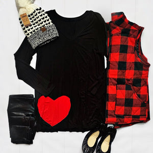 New! Black with Red Heart Long Sleeve Top