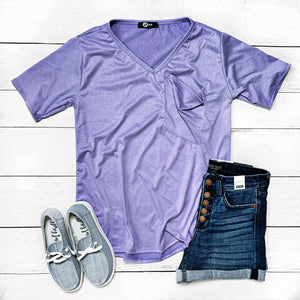 New! Heather Lavender Slouchy Pocket Top