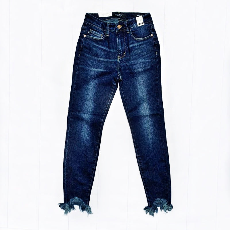 New! Judy Blue Olivia Shark Bite Hem Skinny Jeans