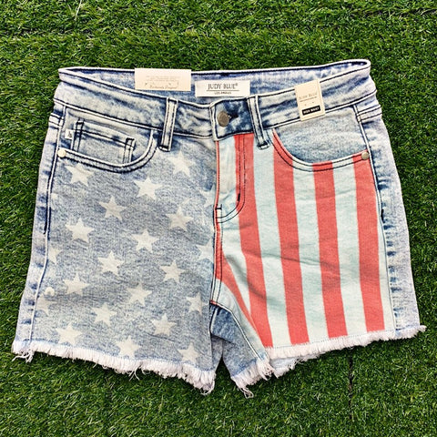 New! Judy Blue USA Flag Shorts