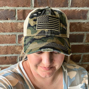 New! CC Camo Flag Vintage Ponytail Hat