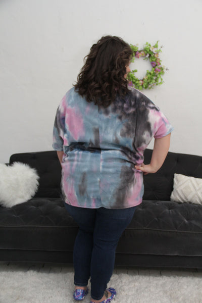 New! Navy and Lavender Tie Dye Waffle Knit Top