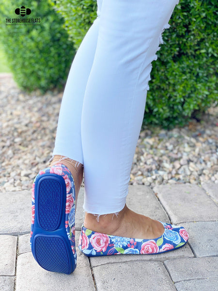 New! PREORDER The Storehouse Flats in Dark Blue Freedom Floral