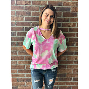 New! Seafoam Tie Dye Choker Top