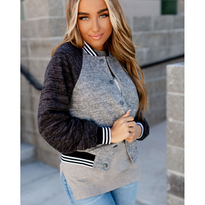 New! Gray Varsity Bomber Jacket