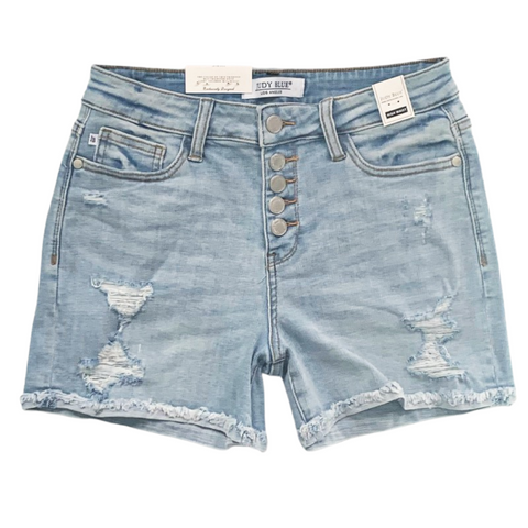 New! Judy Blue Light Wash Button Up Cuffed Shorts