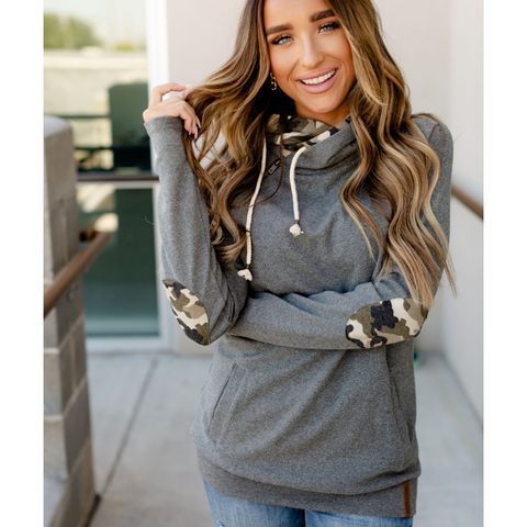 New! Doublehood Sweatshirt - Charcoal with Camo Elbow Patches