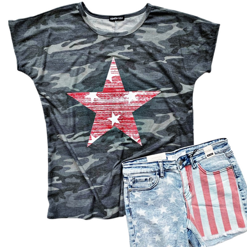 New! Gray Camo with Red Star Top