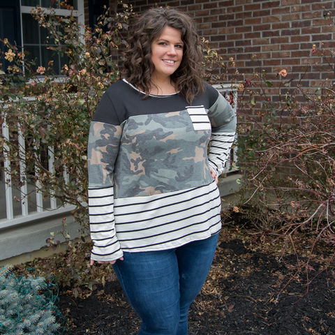 New! Camo and Stripe Color Block Top