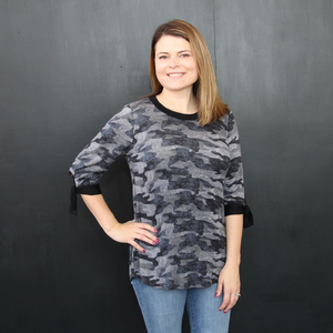 New! Gray Camo with Tie Sleeves Top