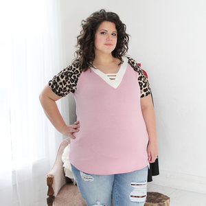 New! Carrie Mauve and Leopard Sleeve Top