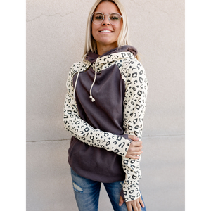 New! Doublehood Sweatshirt - Charcoal with Leopard Sleeves