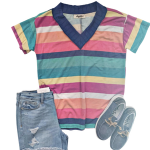 New! Layla Colorful Stripe V-Neck Top