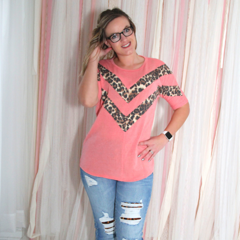 New! Coral and Leopard Short Sleeve Sweater