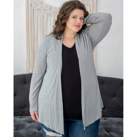 Gray Open Front Lightweight Cardigan