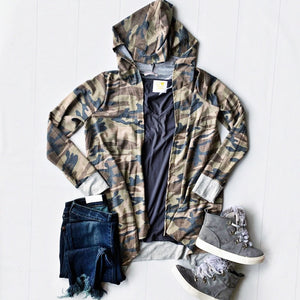 New! Camo Hooded Cardigan