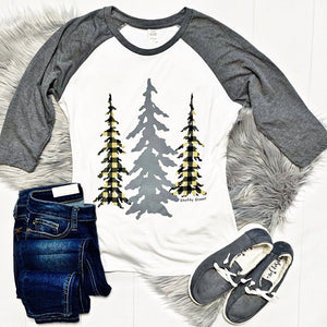 New! Christmas Tree Raglan Tee