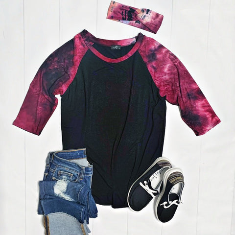 Black and Magenta Tie Dye Raglan