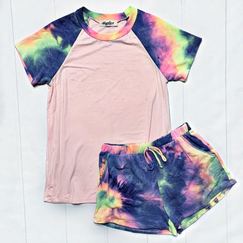 Blush and Tie Dye Sleeves Top