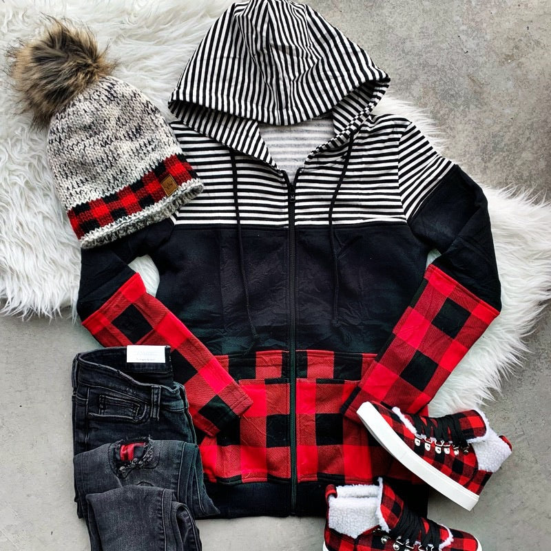 Buffalo Plaid and Stripes Colorblock Full Zip Hoodie