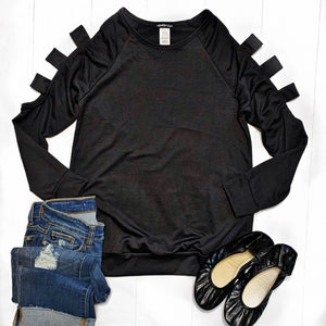 New! Black with Cutout Sleeves Top