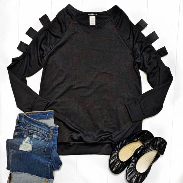 Black with Cutout Sleeves Top