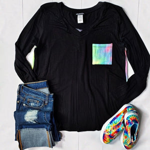 Black with Bright Tie Dye Pocket and Back Top