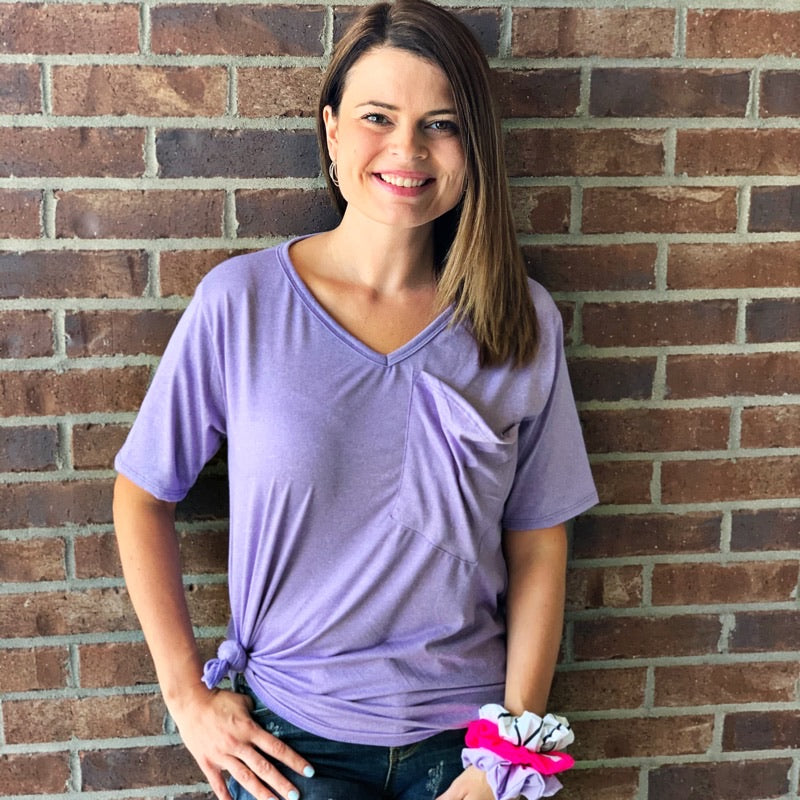 Heather Lavender Slouchy Pocket Top