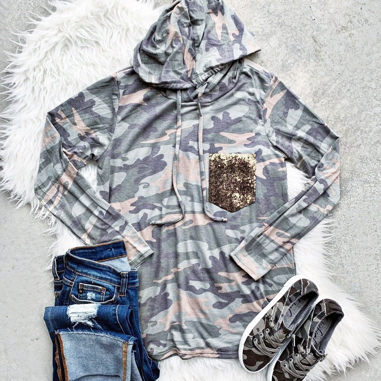 New! Camo with Sequin Pocket Long Sleeve Hooded Top