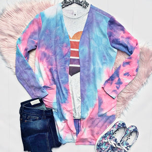 New! Pink, Blue, and Purple Tie Dye Cardigan