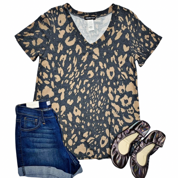 New! Charcoal Leopard V-Neck Top