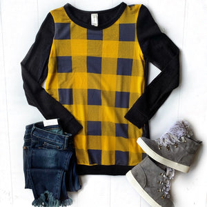 New! Mustard and Black Plaid Top