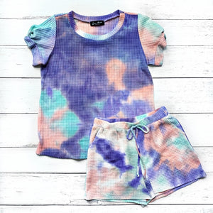 New! Purple, Mint and Pink Tie Dye Waffle Knit Top