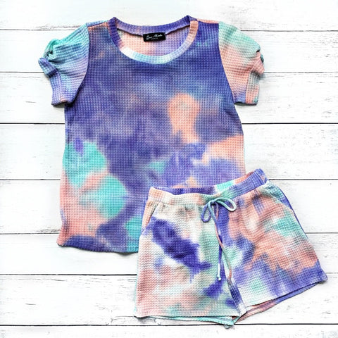 Purple, Mint and Pink Tie Dye Waffle Knit Top