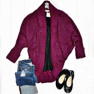 New! Cozy, Wine Oversized Cardigan with Pockets