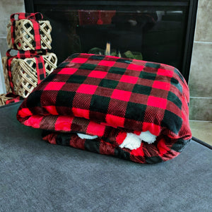 New! Red and Black Buffalo Plaid Sherpa Blanket