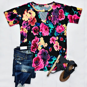 Black Floral Keyhole Top