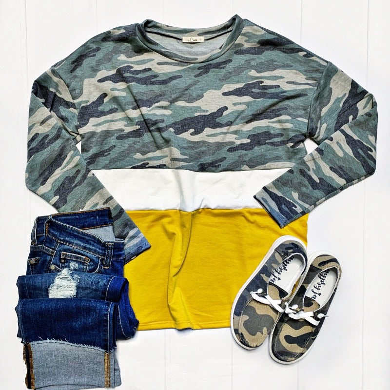 New! Camo and Mustard Long Sleeve Top