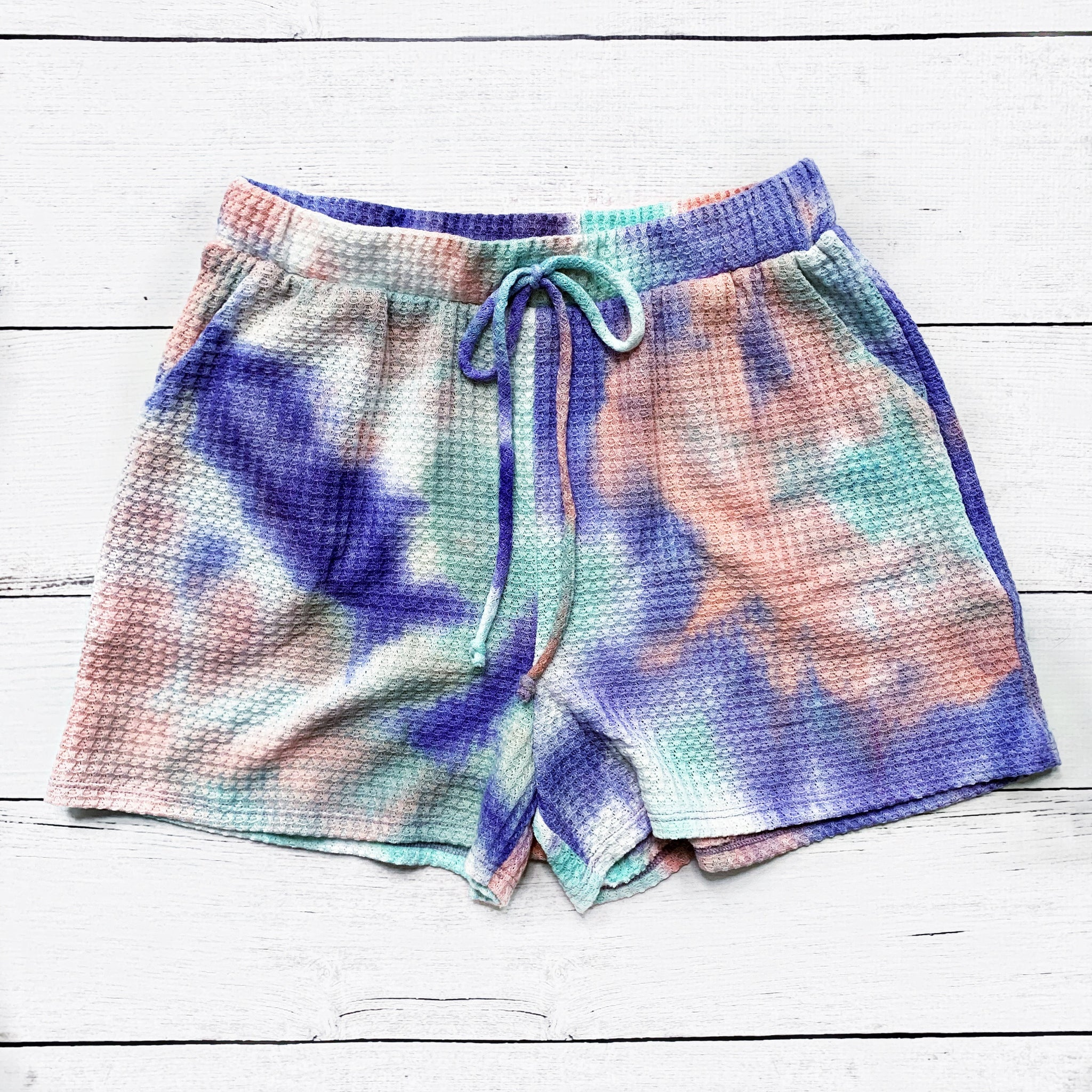 Purple, Mint and Pink Tie Dye Waffle Knit Shorts