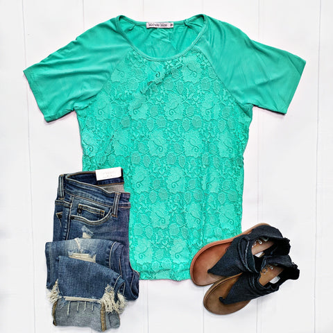 New! Green Lace Front Top