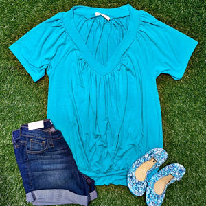 New! Bright Sky Blue V-Neck Top