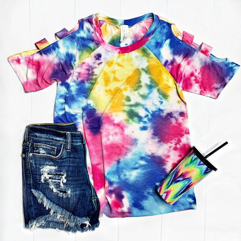 Tie Dye Cutout Sleeves Top