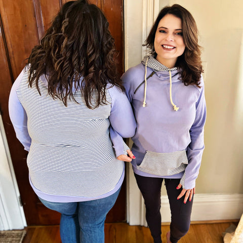 Purple, Tie Dye, and Stripe Color Block Top